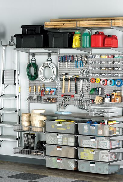 Our elfa shelving solutions can get your garage into gear.