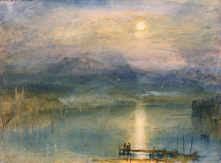 Joseph Mallord William Turner (1775-1851) Moonlight on Lake Lucerne with the Rigi in the Distance, Switzerland (c. 1841) watercolour, bodycolour and scratching out on paper 23 x 30.7 cm The Whitworth Art Gallery, Manchester, England
