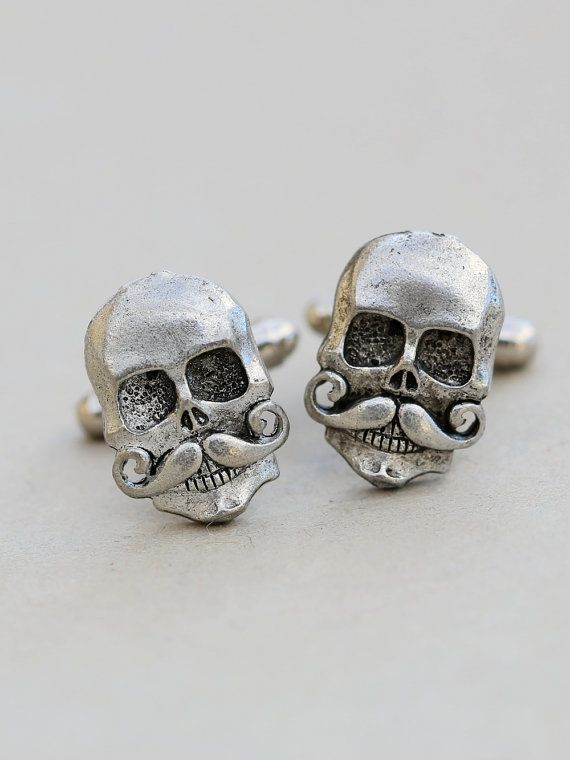 #Mens Skull With Mustache #Cufflinks