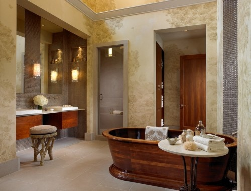 love This Very Eclectic Bath.. Hark Wood, Tub Is So Unique. Wooden  BathtubWooden BathroomFreestanding BathtubGlass ...