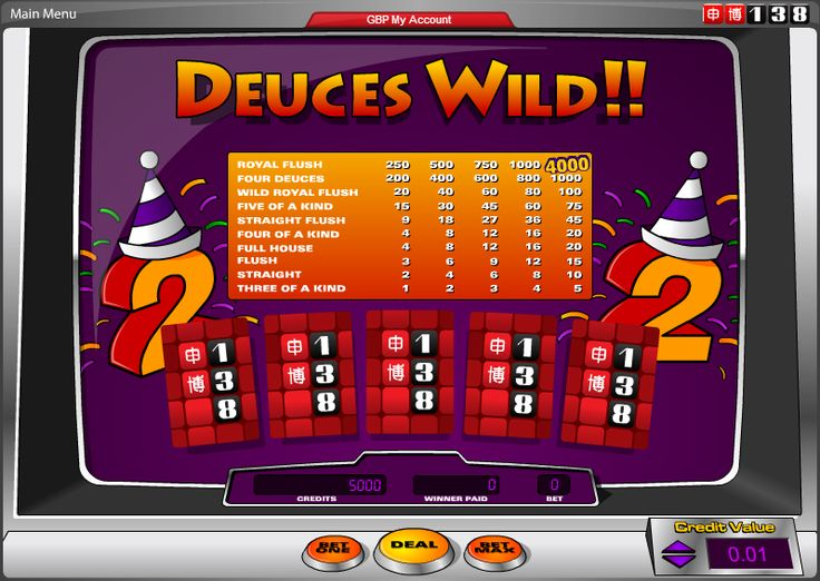 Deuces Wild To get the highest hand poker possible. The