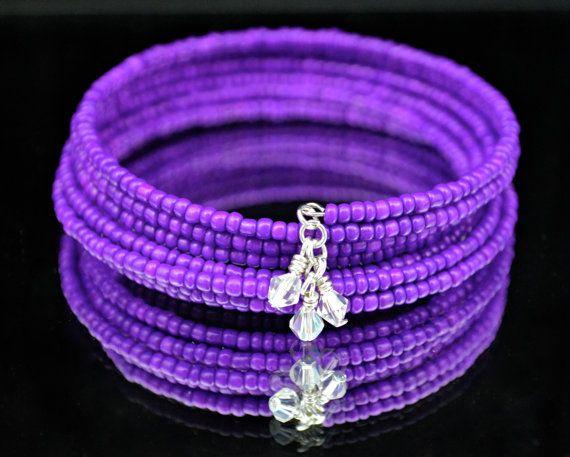 Purple Candy   Memory Wire Bracelet w/ Crystal by DizzleDesigns