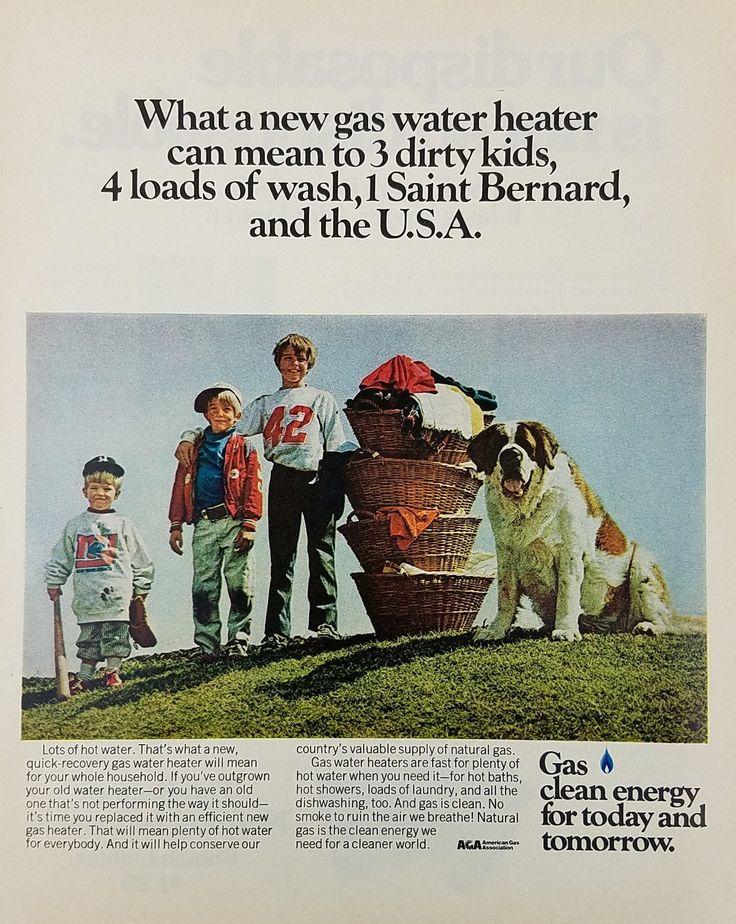 1972 AGA American Gas Association Vintage Ad - 3 Boys St Bernard Dog Dirty Laundry