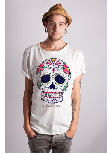 Baleeblu _ Costalamel _ Camiseta handmade ilustración calavera mexicana