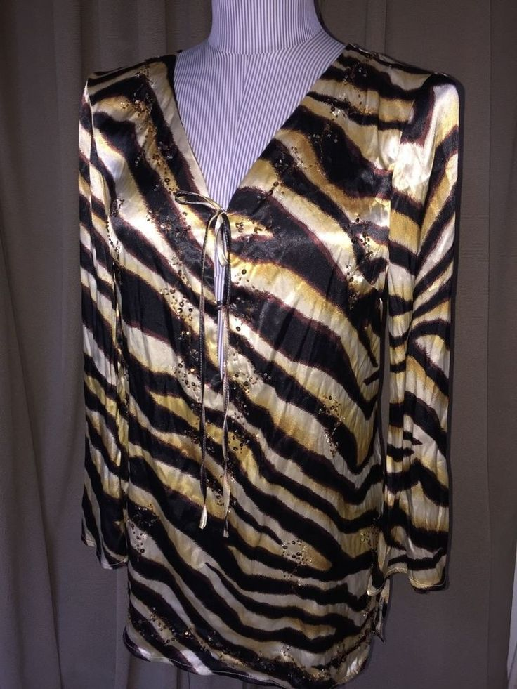 kaely N Max brown ivory beaded zebra sateen tunic bell sleeve top M #KaelyNMax #tunictop #versatile
