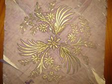 19thC ANTIQUE OTTOMAN-TURKISH GOLD METALLIC HAND EMBROIDERIED PIECE
