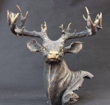 shitou 003277 16″ Folk Chinese Bronze Animals FengShui Deer Sika Head Bust Statue Figurine Set discount 30% (C0324)