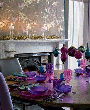 Ramadan table: Christmas Table Decorations, Decor Ideas, Tables Sets, Purple Christmas, Christmas Decorations, Colors, Holidays, Christmas Ideas, Christmas Tables Decor