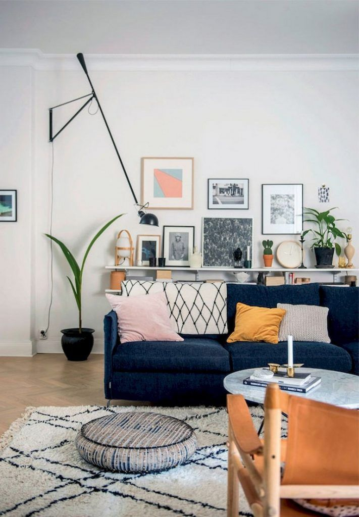 80 Awesome Scandinavian Style Living Room Decor Design Ideas Navy Sofa Living Room Blue Living Room Family Friendly Living Room