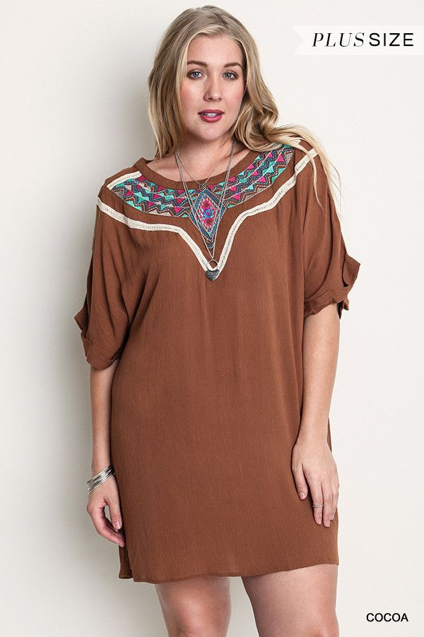 Plus Size Western Embroidered Shift Dress in Cocoa