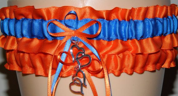 Orange and Royal Blue Garter -Custom Colored Garters for Wedding Garter, Bridal Gifts and Prom Garters on Etsy, $15.99