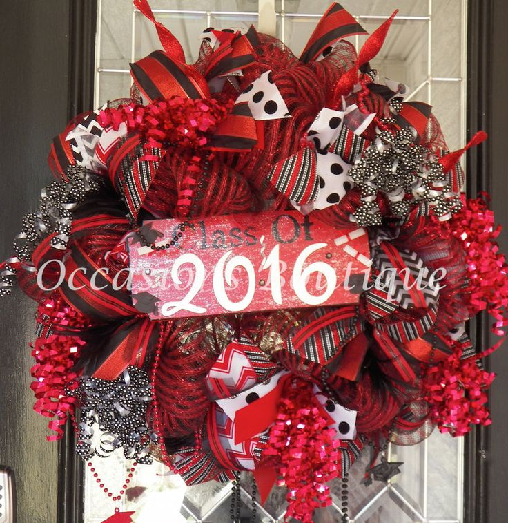 Graduation Party Decoration, Graduation Wreath, Gift for Graduate, Front door Wreaths, Wreath for Door, Deco Mesh Wreath, Made to Order by OccasionsBoutique on Etsy