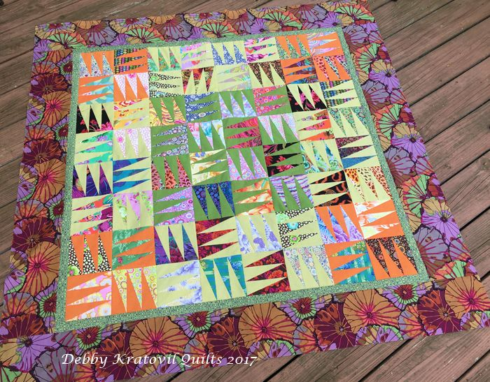 """Shark's Teeth. 54"""" x 54"""" quilt. 10"""" blocks. Now it waits patiently to be quilted. Take a number; get in line!"""