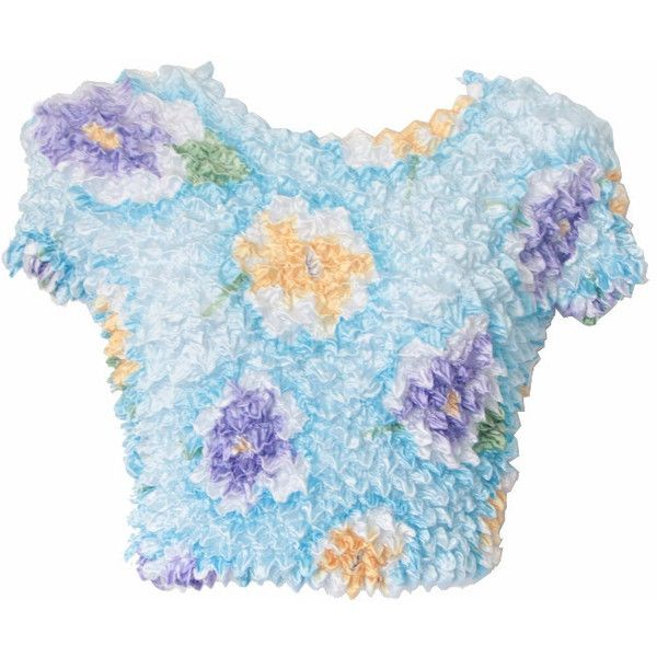 90s bubble shirt, popcorn crop top, seapunk floral puffy blue crinkle... ($21) ❤ liked on Polyvore featuring tops, crop tops, shirts, bubble shirt, floral shirts, holiday tops, blue shirt and evening tops