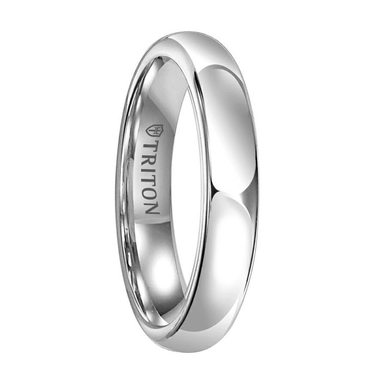 ANWEN Women's Domed White Tungsten Ring with Polished Finish by Triton Rings - 4 mm & 5 mm