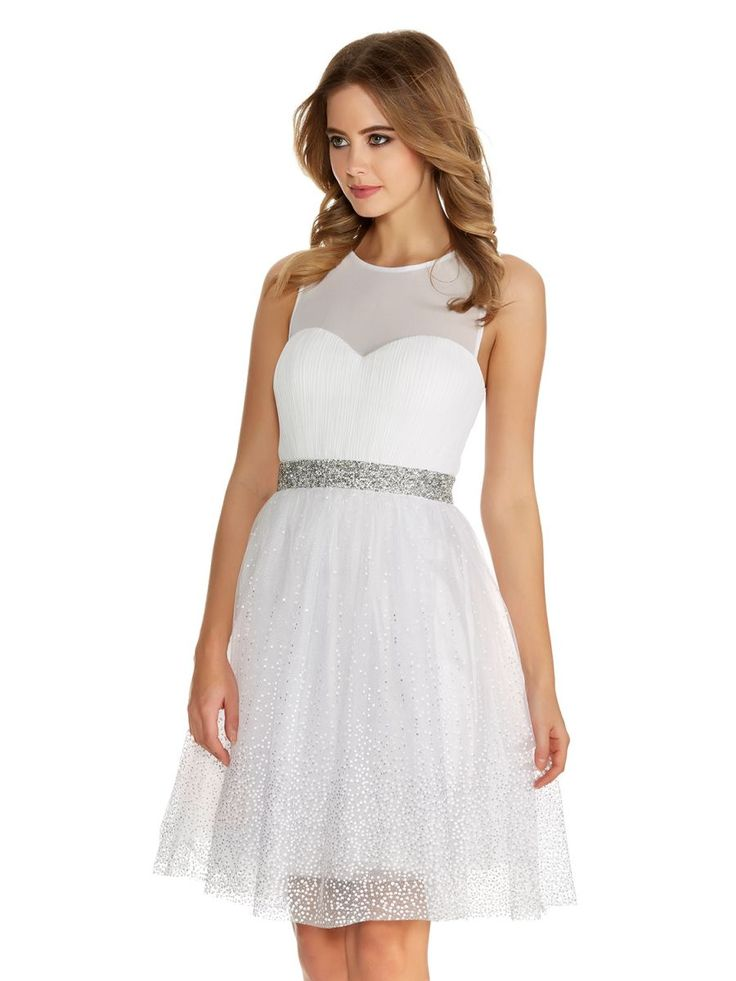 White And Silver Chiffon Glitter Prom Dress
