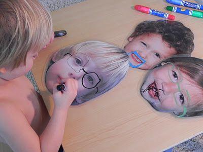 laminate jumbo faces for dry erase fun.  funny.
