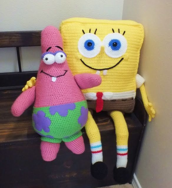 I had a special request from one of my customers...asking me if I could make her a Spongebob...I didn't have a pattern so I created  this myself...Spongebob had to have his best friend so I created  the pattern for Patrick the starfish too.  Read more at http://spotconnie.blogspot.com/2013/08/spongebob-and-patrick.html#i2Ttc3YXSTkKuM6L.99