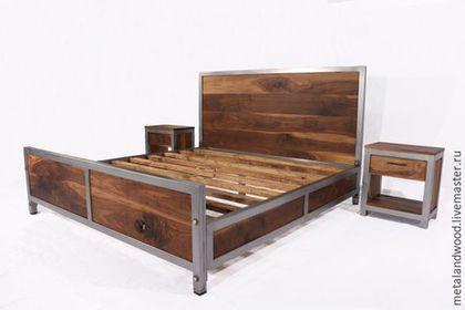 Купить или заказать Кровать в стиле лофт mod.1 в интернет-магазине на Ярмарке Мастеров. Прочная, надежная металлическая кровать выполнена в промышленном стиле. ширина 1700, длина 2100, высота изголовья 1200 может быть изготовлена по вашим…