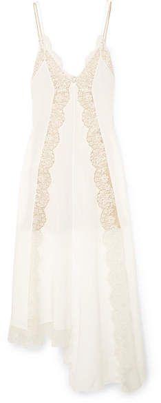3c33bee03 Stella McCartney Asymmetric Lace-trimmed Silk Crepe De Chine Dress - Ivory