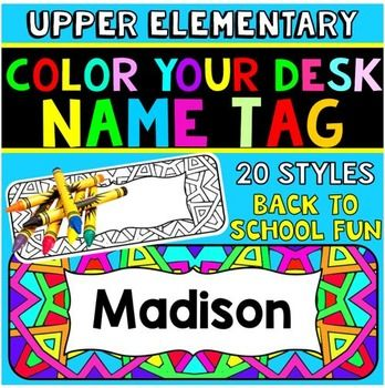 "Dress up your students' desks with these ""color your own"" desk name plates. Your kids will love adding their own personal touches to their individual desks. Plus, they will add lots of color and creativity to your classroom. These would be great to pass out on meet the teacher day, and they can take them home to color as 'homework'."
