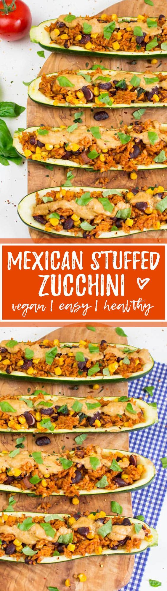 These Mexican stuffed zucchini with kidney beans, corn, and rice are one of my favorite vegan dinners! Super easy to make, SO delicious, and healthy! <3 | veganheaven.org