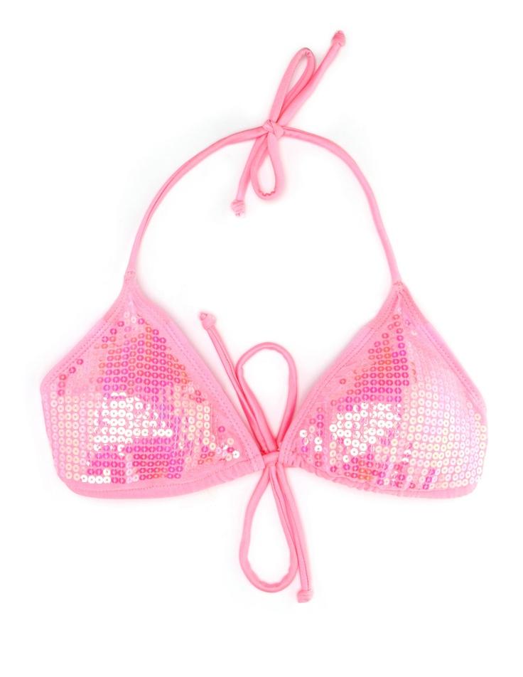 Sequin-Front Bikini Top