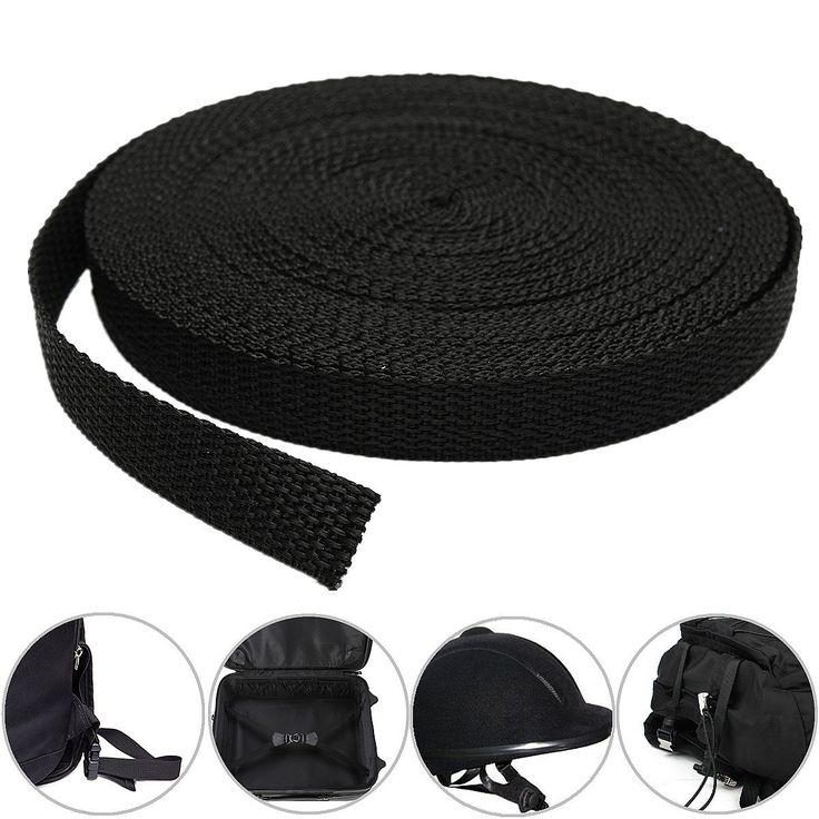 15mmx10m Fita de fita de tecido de nylon preto para fazer cinto Cinta de saco de cinto