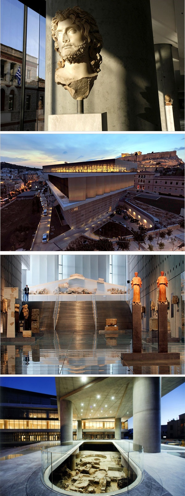 The New Acropolis Museum is considered to be one of the most important museums in the world. After 9 years and at a cost 150€ million it is indeed a modern masterpiece housing the world's most precious artifacts. It is situated near the base of the Acropolis with a direct view of the Parthenon.  Its foundations are a key feature of the building, which can be seen through the glass floors. They are designed in such way that let the building afloat above the ruins of the ancient city.