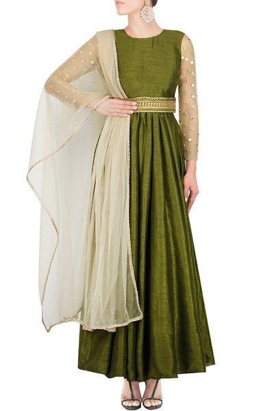 Featuring an olive green silk anarkali with net embroidered sleeves , it comes with a net dew drop dupatta with a light border and kamarband #Raw #silk #anarkali #NewIn #Carma #Online #Shop #CarmaOnlineShop