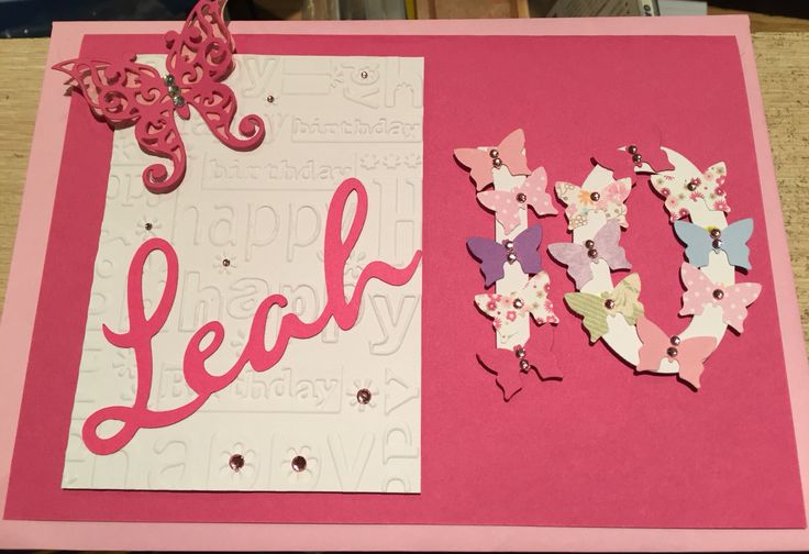 Handmade 10th Birthday card Personalised