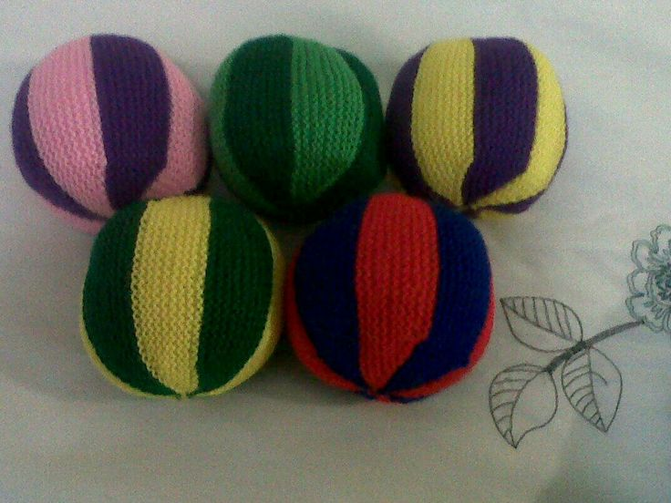 Knitted balls for the creche