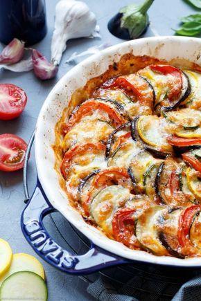 Ratatouille aus dem Ofen mit Mozzarella