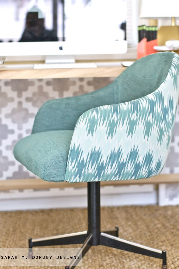 LOVE this chair redo | sarah m. dorsey designs: Ikat Chevron Office Chair ReUpholstery