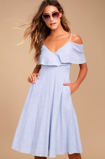 884fe8fa5c Yacht Rock Blue and White Striped Off-the-Shoulder Midi Dress 5 ...