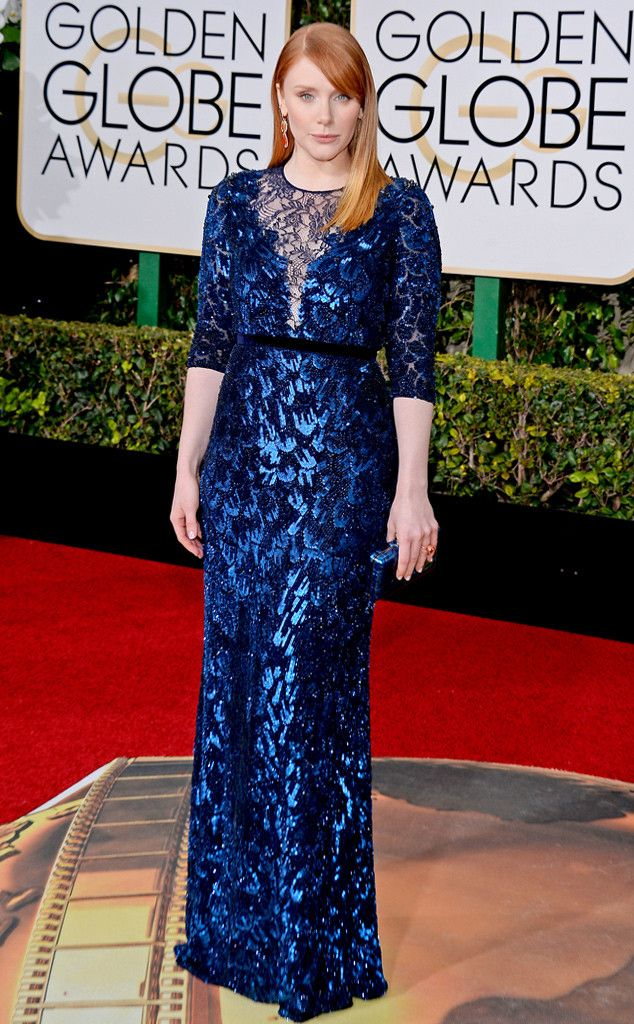 Bryce Dallas Howard from 2016 Golden Globes Red Carpet Arrivals  In Jenny Packham