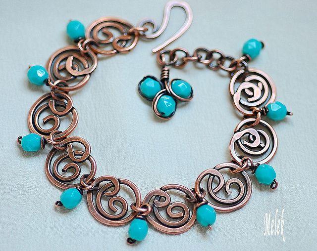 Wireworked Copper Bracelet by melekdesigns, via Flickr