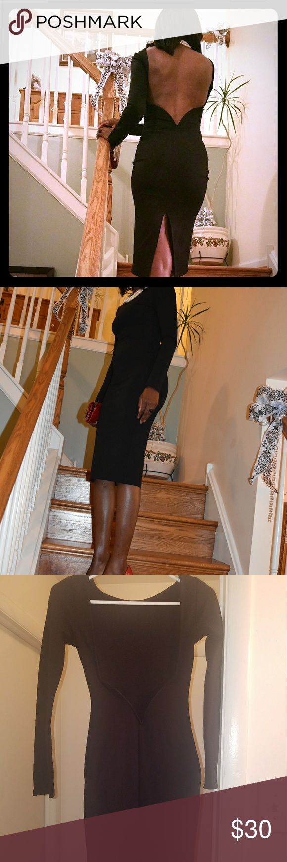 Backless Midi Black Dress Make a statement.... Wow!! Curve-loving backless midi long sleeve dress. Wore once.  You will not be disappointed. From a smoke free home! lulus Dresses Midi