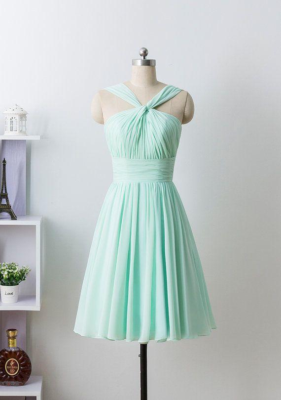 Minze Prom Kleid Brautjungfer Kleid kurzen Chiffon von CharmAngell
