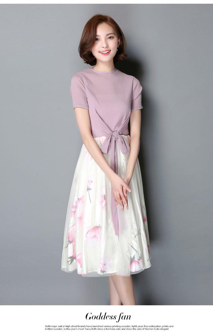 2016 Nova Moda Verão Roupas Femininas Vestido Arco Costura Mostram Magro Floral Impressão Chiffon Vestidos de Malha…