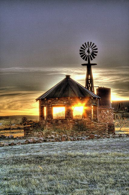 "Sunshine Through The Barn...New Mexico. I really like the style of this...sort of a ""Country Gazebo"" with a Windmill to boot..."
