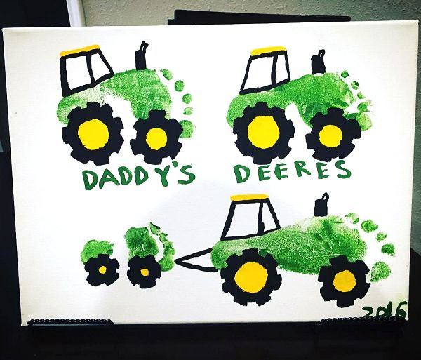 Daddy's Deeres (Footprint Tractor Gift for father's day) - Crafty Morning