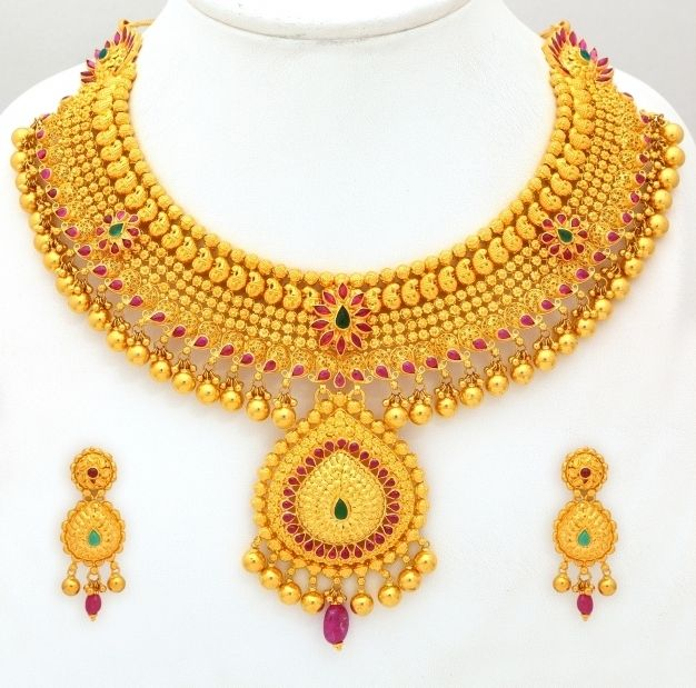 Bridal Gold Necklace With Stones Set