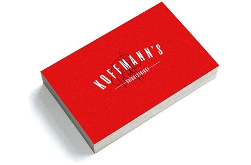 Construct London: Koffman's Identity and Collateral  Construct London designed this bold yet playful identity for Koffman's, a London restaurant created by chef Pierre Koffmann. #red #white