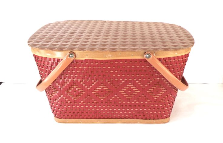 1950's Red-Man Picnic Basket, Bent Metal Handle, Red Weave by ClassicCamping on Etsy