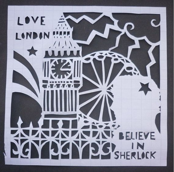 BBC Sherlock Love London Paper Cutting Art
