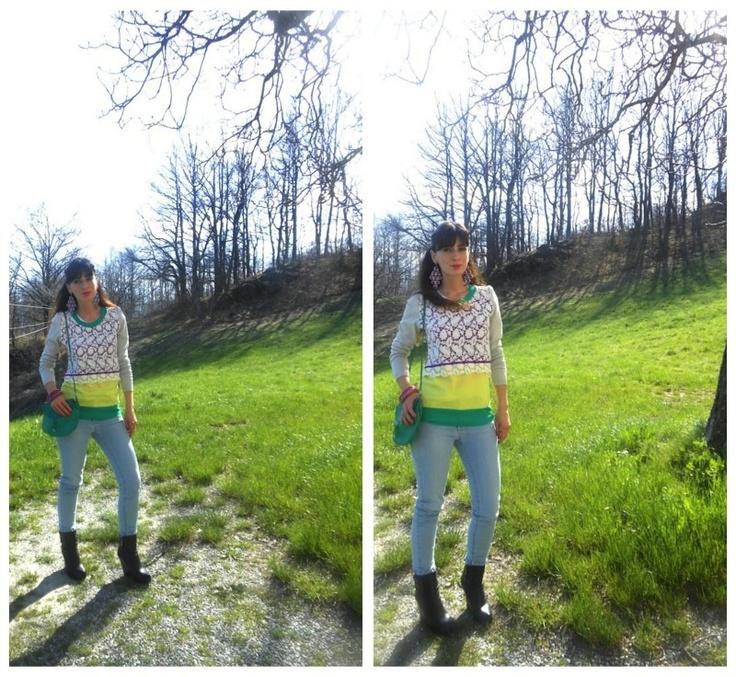 Outfit pastel, verde, lill a, giallo, macramè' e jeans, total look Danive',look colorati primavera, jeans skinny chiari, amanda marzolini fashion blogger made in italy, the fashionamy