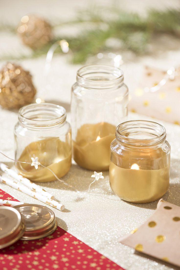 Recyclez vos p'tits pots en photophores de Noël! #noël #déco #tabledenoël