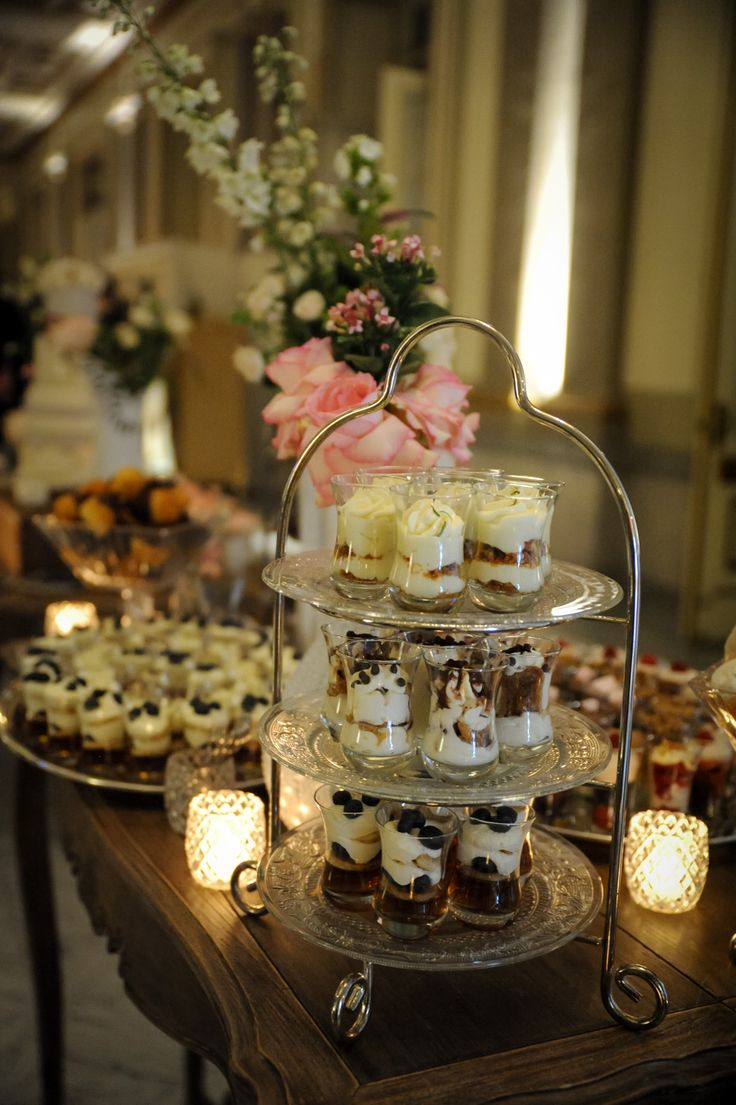 An assortment of dessert comports and glass verrines for an elegant vieux-chateau wedding || Java U Catering || Photography: La Vie Image
