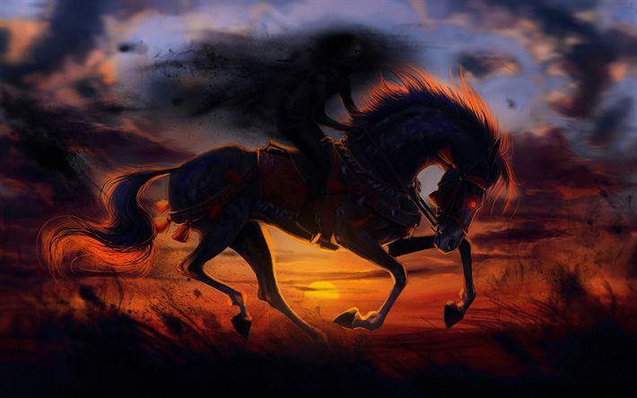 Download wallpapers horse, field, wildlife, sunset, art
